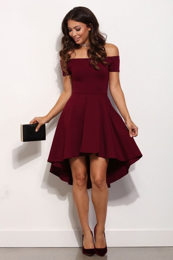 Burgundy chiffon off-shoulder high low short prom dresses from ...