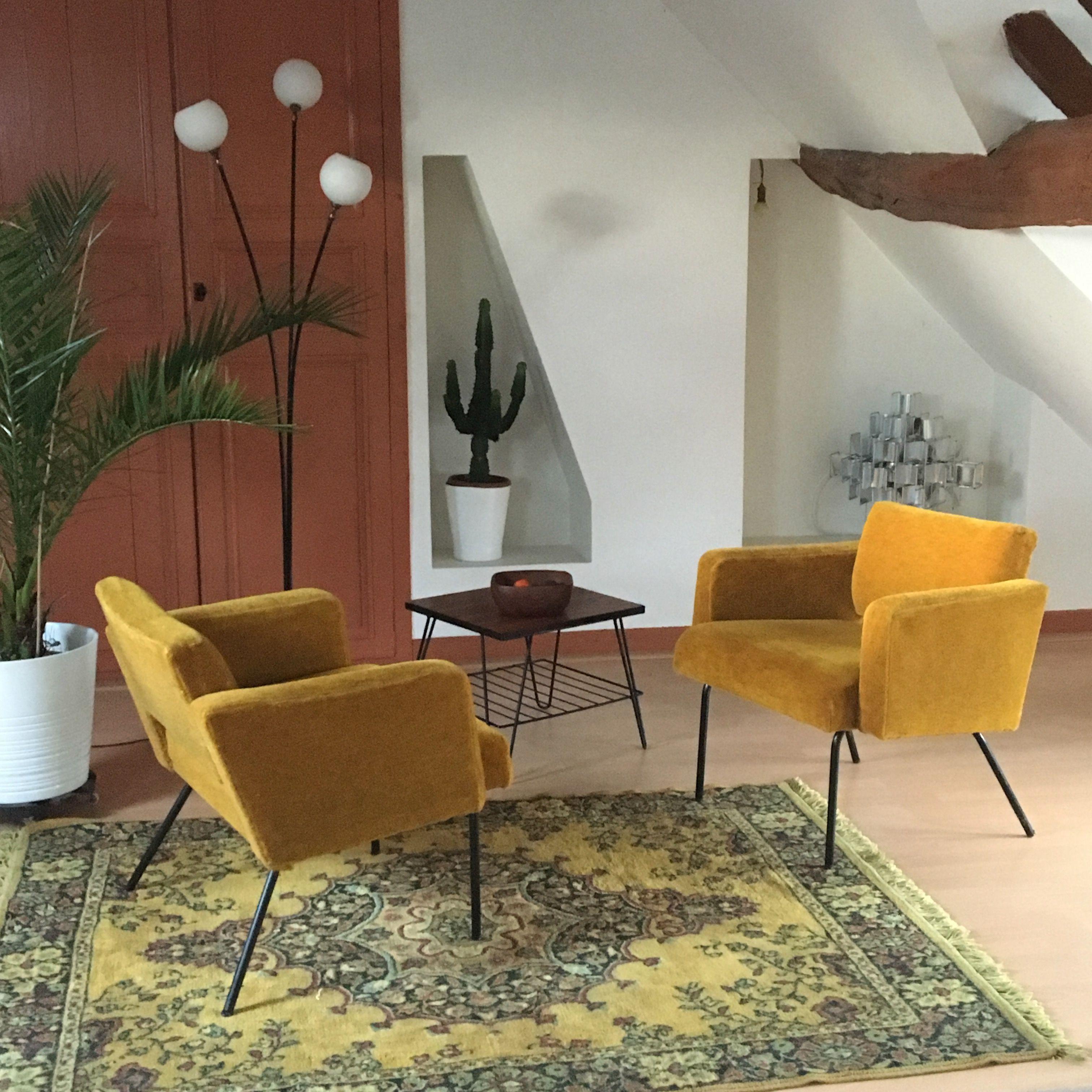 Fauteuil Vintage Jaune Moutarde Salon Scandinave Scandinavian  # Meuble Tv Moutarde