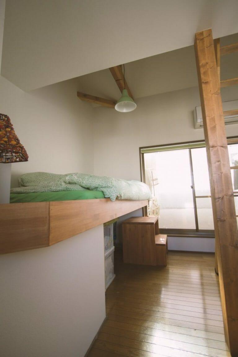 3Fの寝室は将来間仕切って2部屋に分ける予定。ロフトベッドで収納力をアップしました。(木造戸建リノベーション 京都市中京区) | 京都の住宅リノベーション専門会社(マンション・中古物件など) | ミセガマエヤ