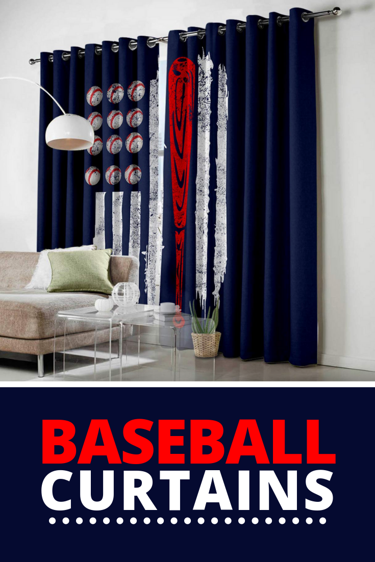 Baseball Themed Curtains For Any Room Of Your Choice Decorate Your Living Room Or Boys Baseball Bedroo Baseball Bedroom Living Room Bedroom Baseball Curtains