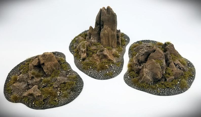 Wargame Terrain - Jutting Rock STUB Outcropping A - Miniature Wargaming & RPG hill terrain #wargamingterrain