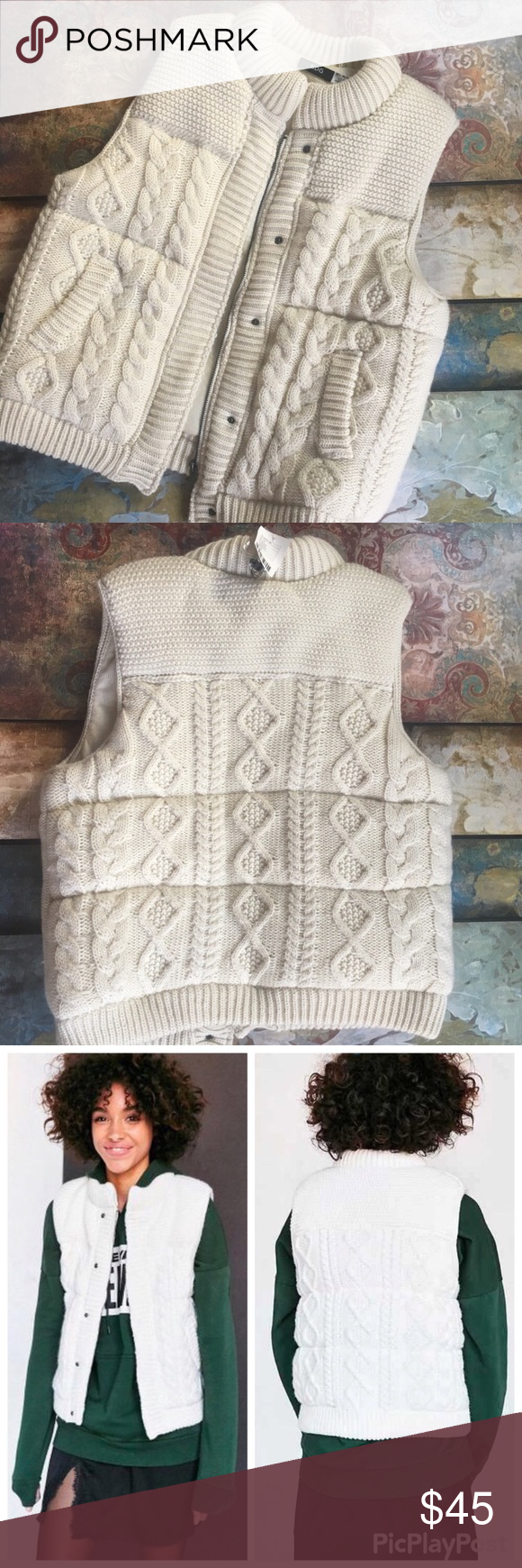 Urban Outfitters Bdg Cable Knit Sweater Vest Urban Outfitters Bdg Cable Knit Sweater Puffer Vest Cream Outerwear Sweetheart Womens Cable Knit Sweaters Sweaters Urban Outfitters