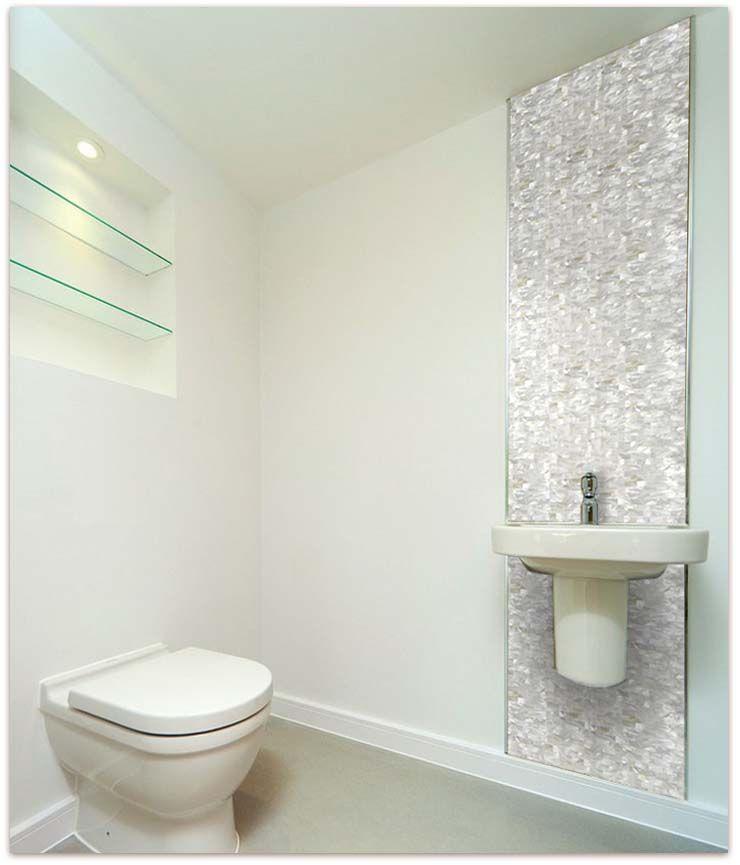 White brick groutless mother of pearl tile glass mosaic shell tiles bathroom wall backsplash also pinterest