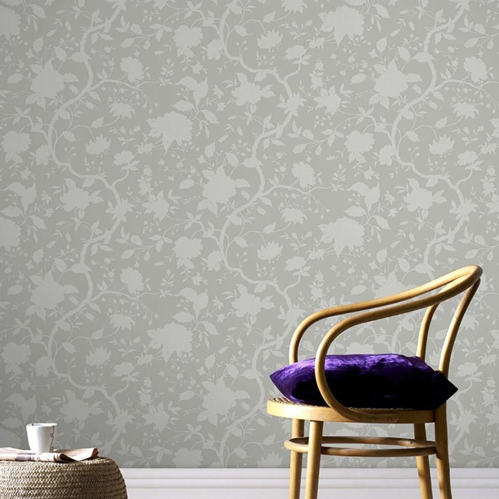 Brown Botanical Floral Wallpaper ...