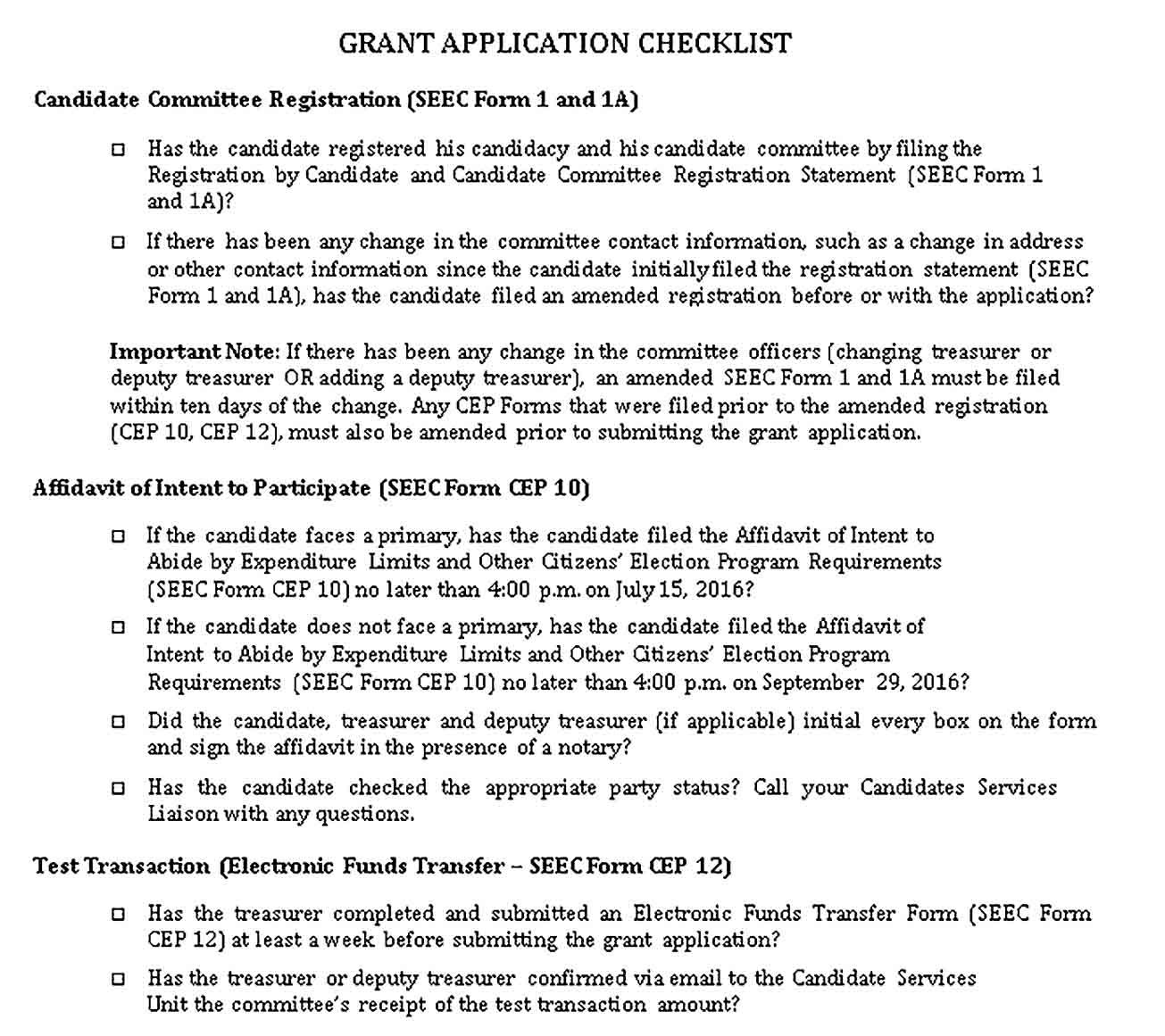 Sample Election Grant Application Checklist Template Grant Checklist Template