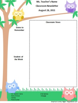 Teacher Newsletter Template  Owl Theme  Teacher Newsletter