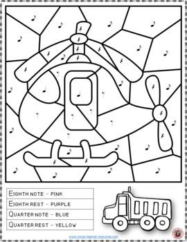 TRANSPORTATION Themed Music Coloring Sheets: 15 Color by