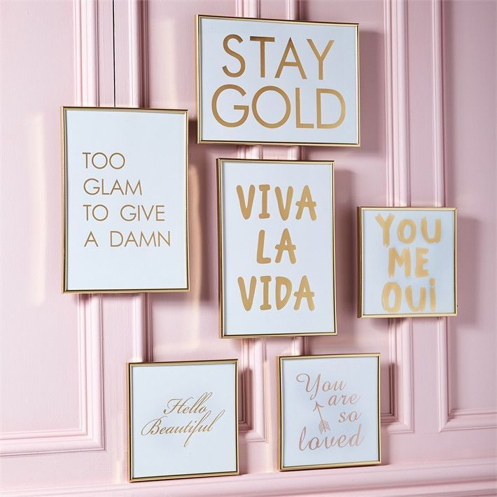 Glam Gallery Gold Framed Wall Sayings Gold Frame Wall Frames On Wall Framed Wall Art Sets