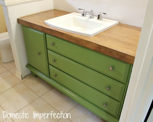 Lovely Turn A Dresser Into A Bathroom Vanity   Domestic Imperfection  Large Door  On The Left And Drawers On The Right
