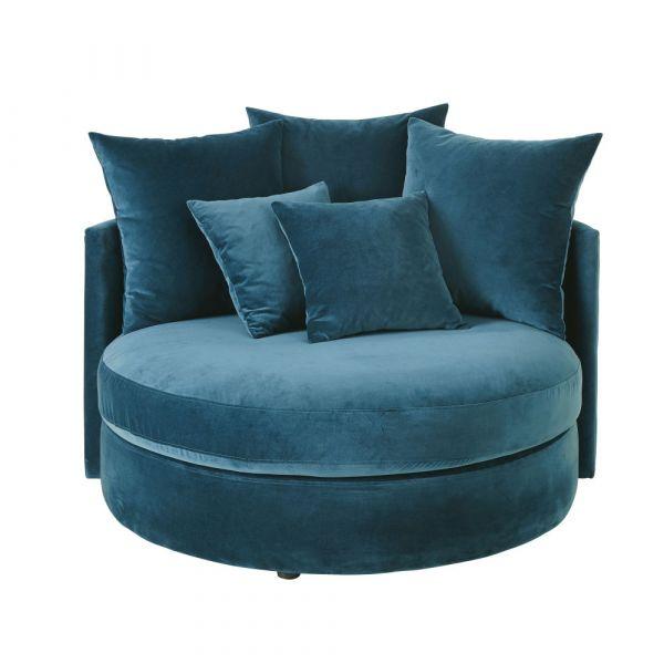 Petrol Blue 1 2 Seater Round Velvet Sofa In 2020 Velvet Sofa Blue Sofa Chair Petrol Blue