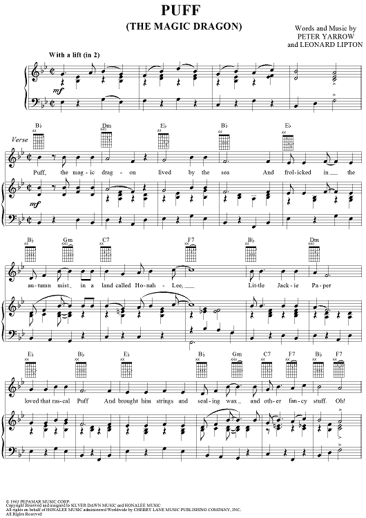Puff (The Magic Dragon) | uke | Pinterest | Sheet Music, Dragons and ...