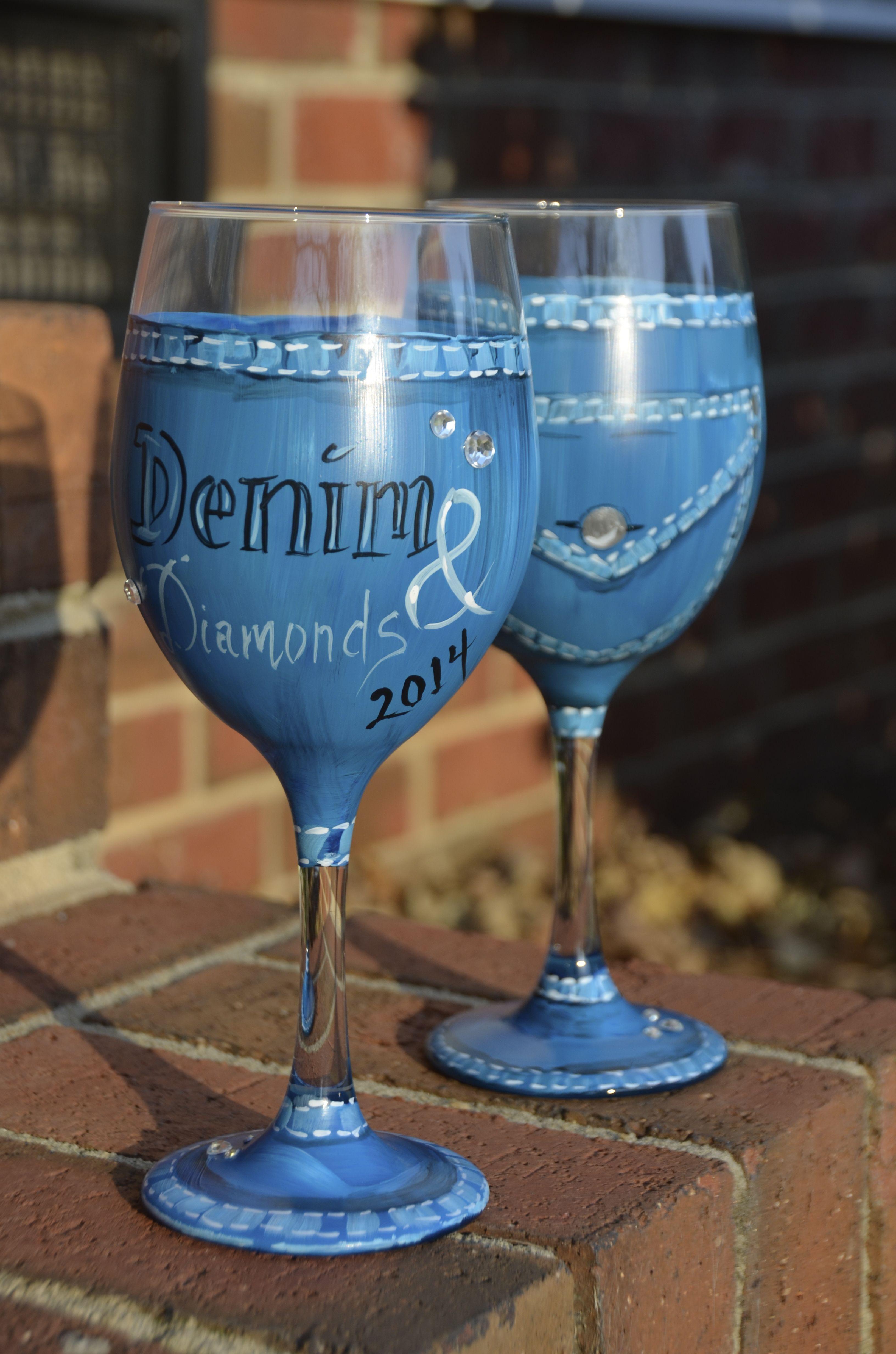 Denim Amp Diamonds Gala Wine Glass Creation Https Www