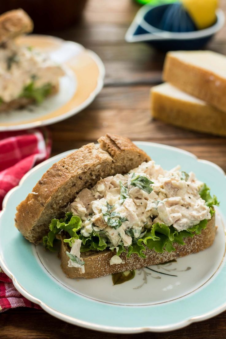 Bursting with fresh basil, lemon juice, and Parmesan cheese, these Basil Chicken Salad Sandwiches taste like summer.