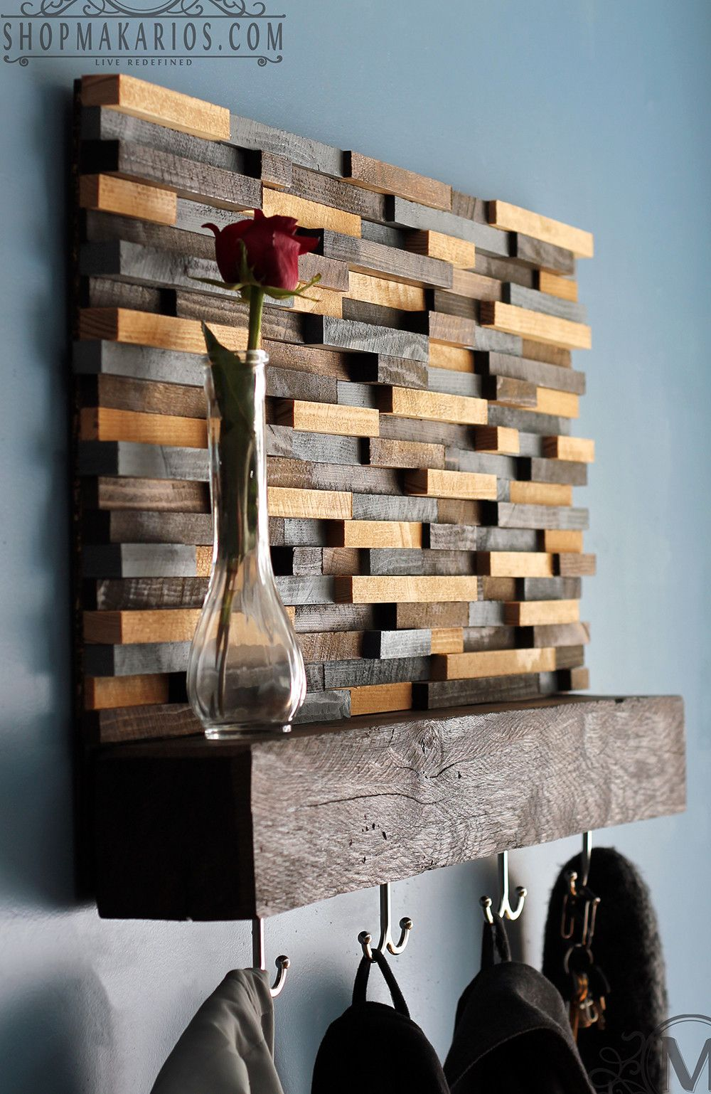 Wood Tile Coat Rack With Shelf Things To Make Pinterest
