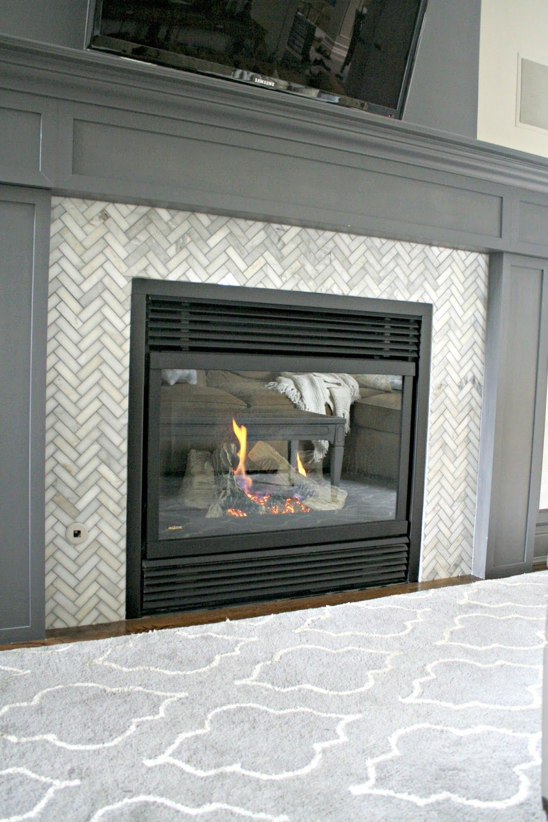 How We Hide The Tv Electronics Fireplace Glass Doors Tile