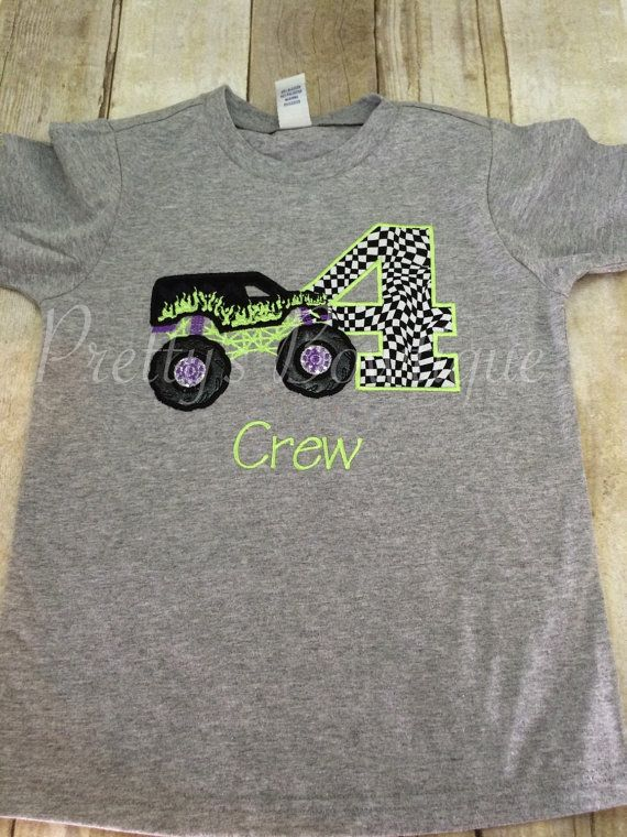 Monster Truck Birthday Shirt Any Age You Can Pick Colors And Fabrics With Images Monster Truck Birthday Birthday Shirts Monster Trucks Birthday Party