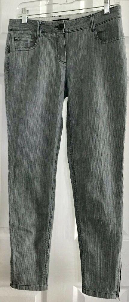 Theory Laurice Bretagne Blue Pinstripe Crop Jean Pant Leg Zipper Size 4 STRETCH