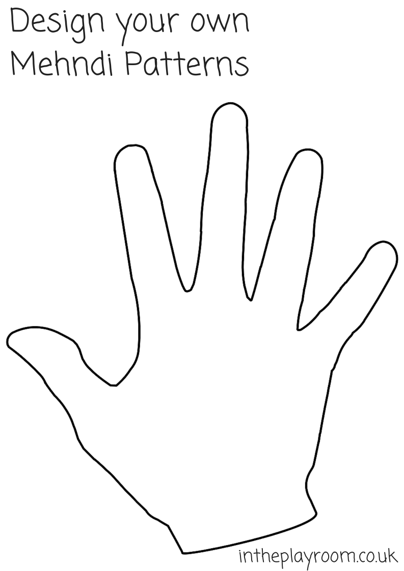 Hand print coloring pages - Design Your Own Mehndi Patterns Hand Print Printable
