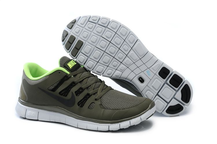 Nike Free 5.0+ Mens Army Green Fluorescence Green Running Shoes