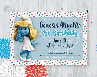 Printable Smurf Birthday Invitation Smurfs Pinterest Birthdays