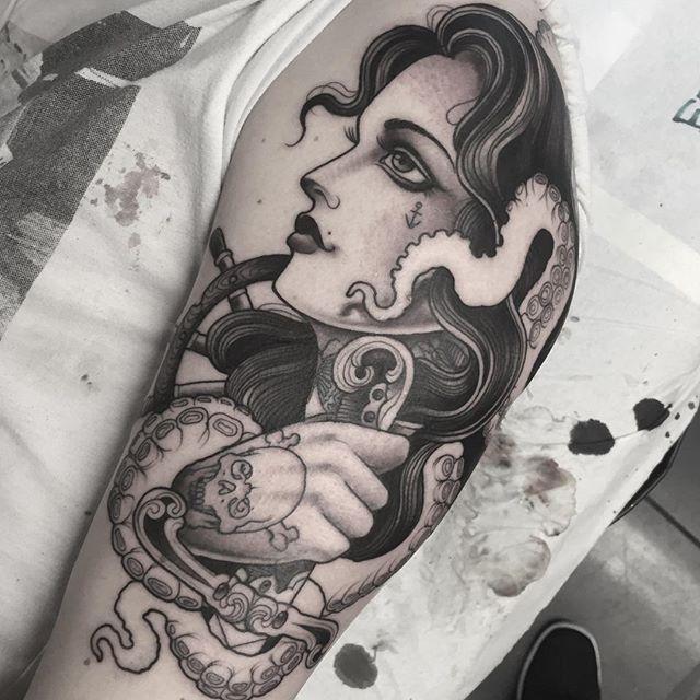 jeanleroux - Pirate girl Started today ... @thetallonco @blackgardentattoo #tattoo #tattoos #girl #girltattoo #pirate #pirategirl #sword #skull #tentacles #octopus