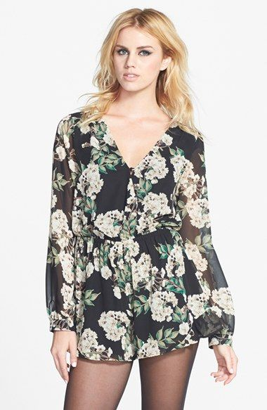 ASTR Faux Wrap Print Romper available at #Nordstrom