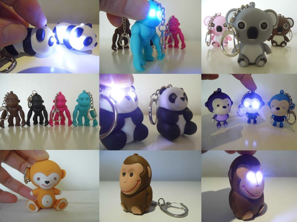 Keyring With Light Amp Sound Bear Panda Monkey Gorilla