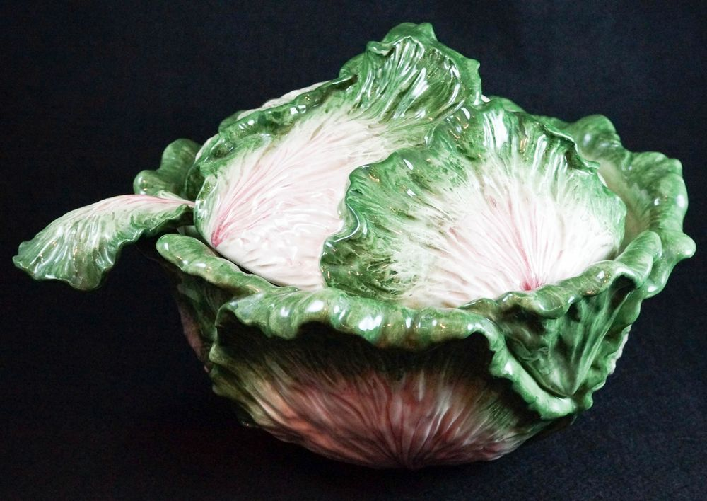 Vintage Fitz And Floyd Cabbage Leaf Pattern Covered Soup Tureen With Ladle Large Fitz And Floyd Cabbage Leaves Leaf Pattern