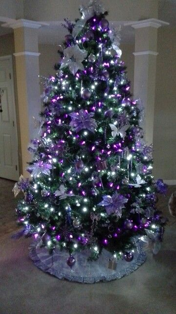 christmas tree purple and silver christmas pinterest. Black Bedroom Furniture Sets. Home Design Ideas