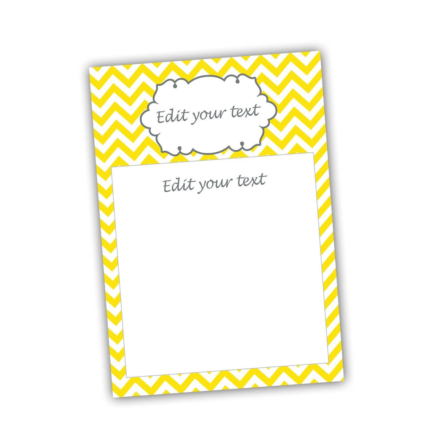 Yellow Chevron Blank Invitation Thank You Card Bridal Baby Shower