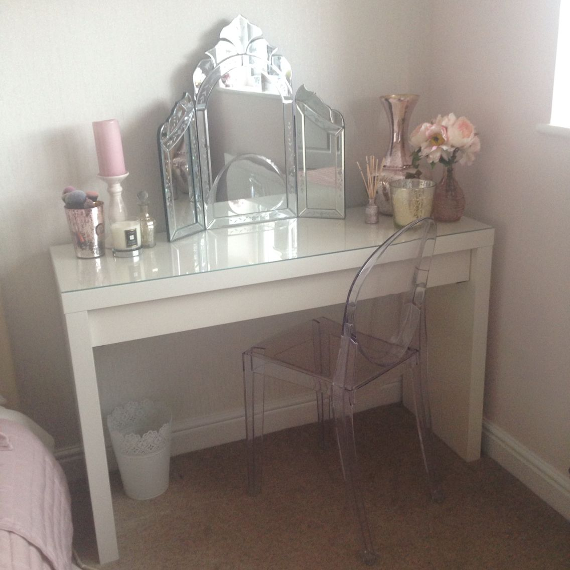 Makeup Tables And Chairs New Ikea Malm Vanity And Ghost Chair So Pleased Such