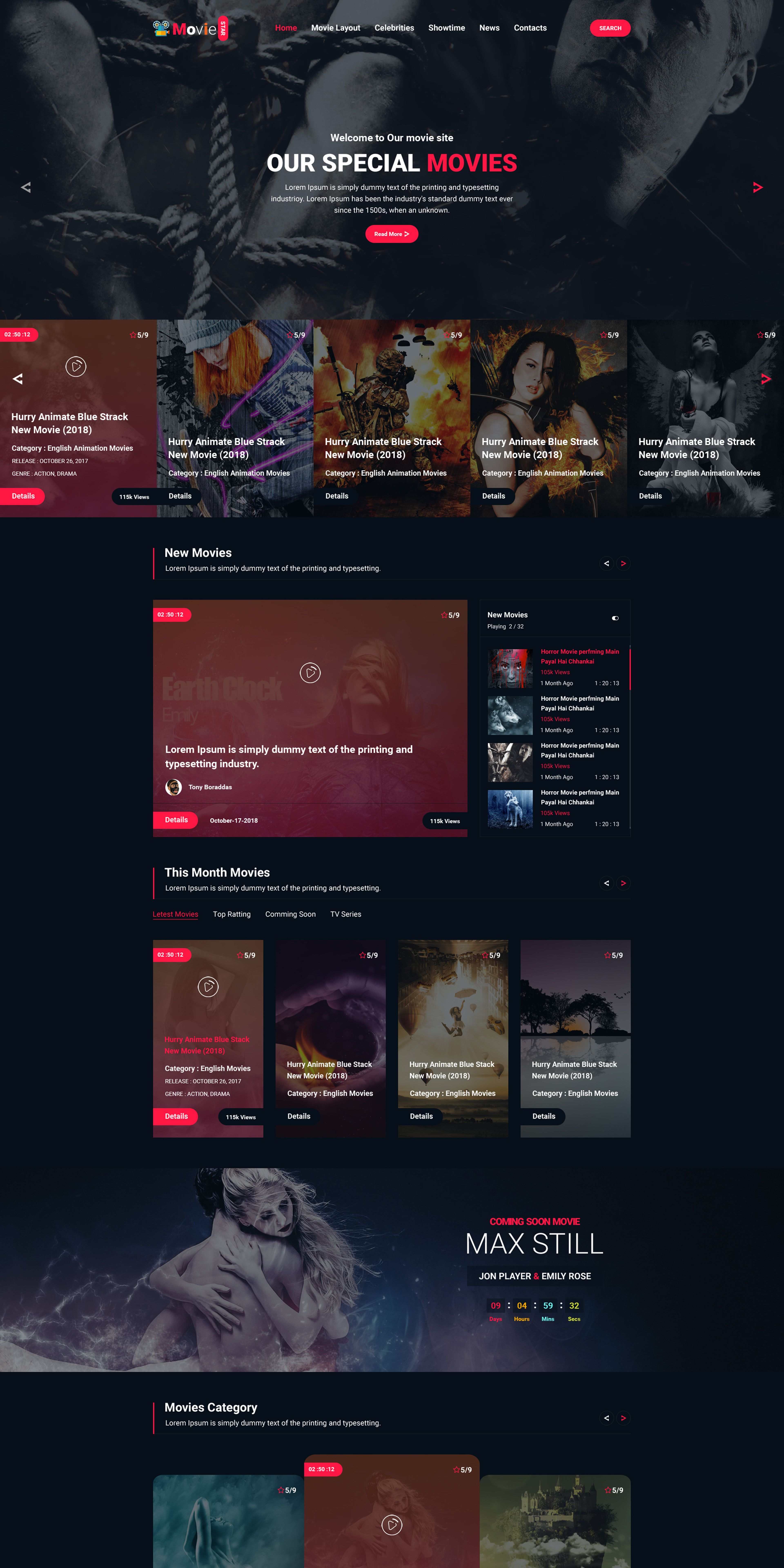 Moviie Star Online Movie Video Tv Show Psd Template 66916 Show
