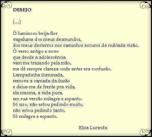 Só isso, não estou pedindo muito... #ElisaLucinda