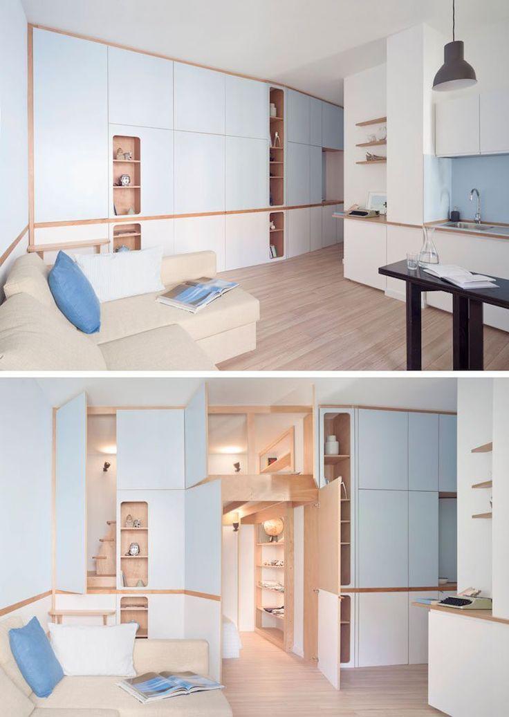 Meuble multifonction pour studio de design inspir par la cabine d 39 un yacht tiny house build - Meuble multifonction ...