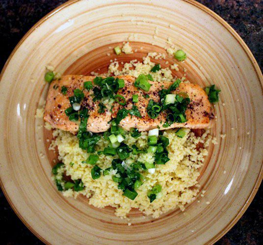 cilantro vinaigrette salmon with couscous.  Made this with talapia and turned out great!