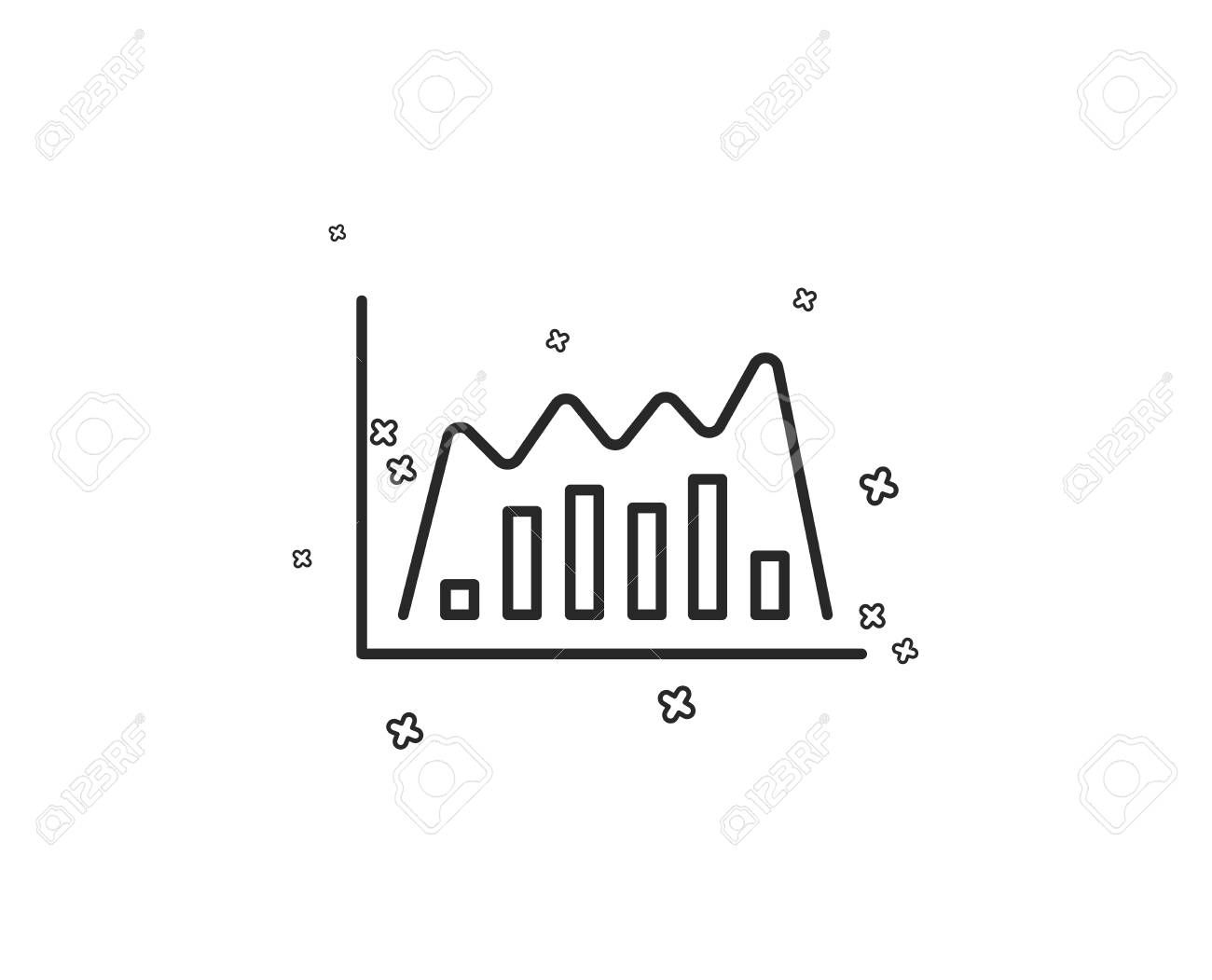 Investment chart line icon. Economic graph sign. Stock exchange symbol. Business finance. Geometric shapes. Random cross elements. Linear Infographic graph icon design. Vector ,