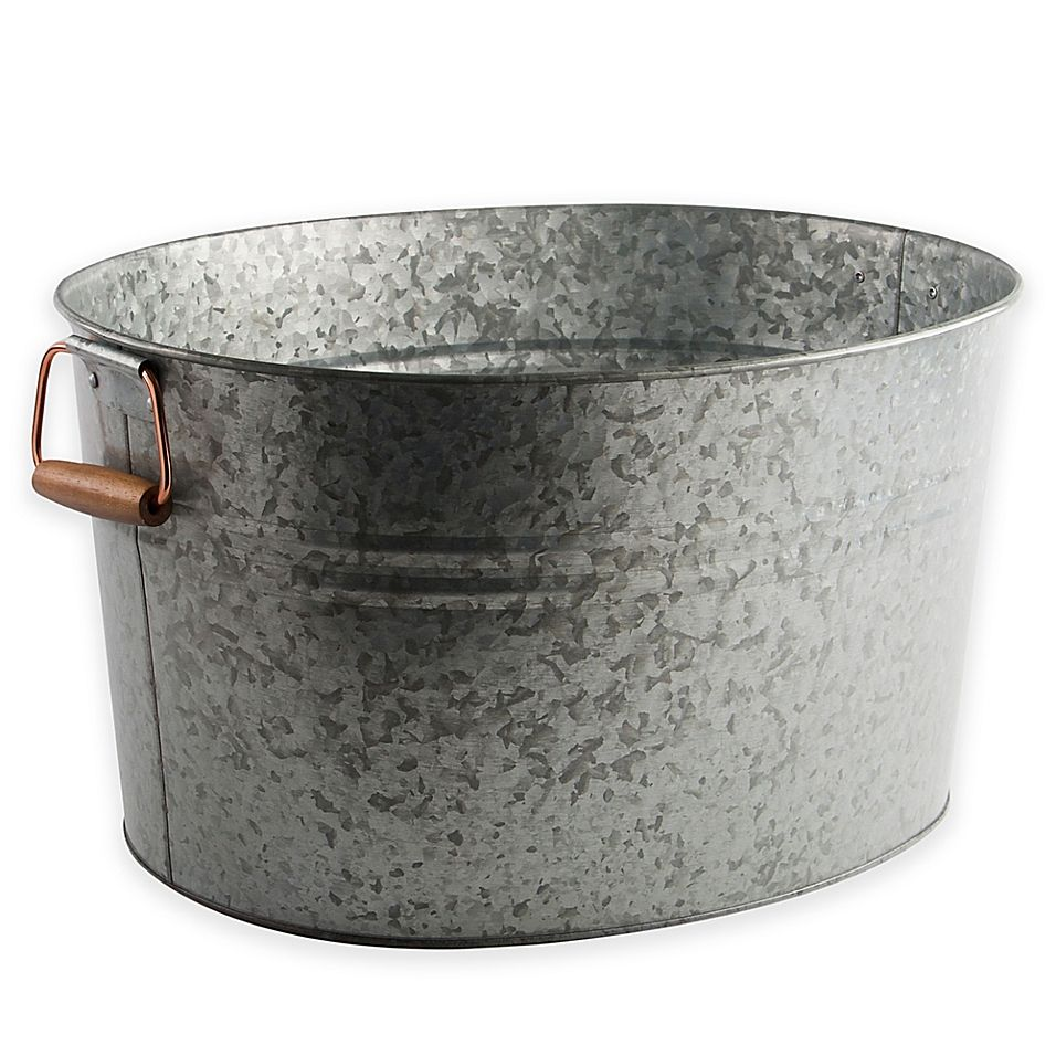 Heritage Home Galvanized Metal And Copper Ice Bucket Galvanized Metal Metal Wash Tub Ice Bucket