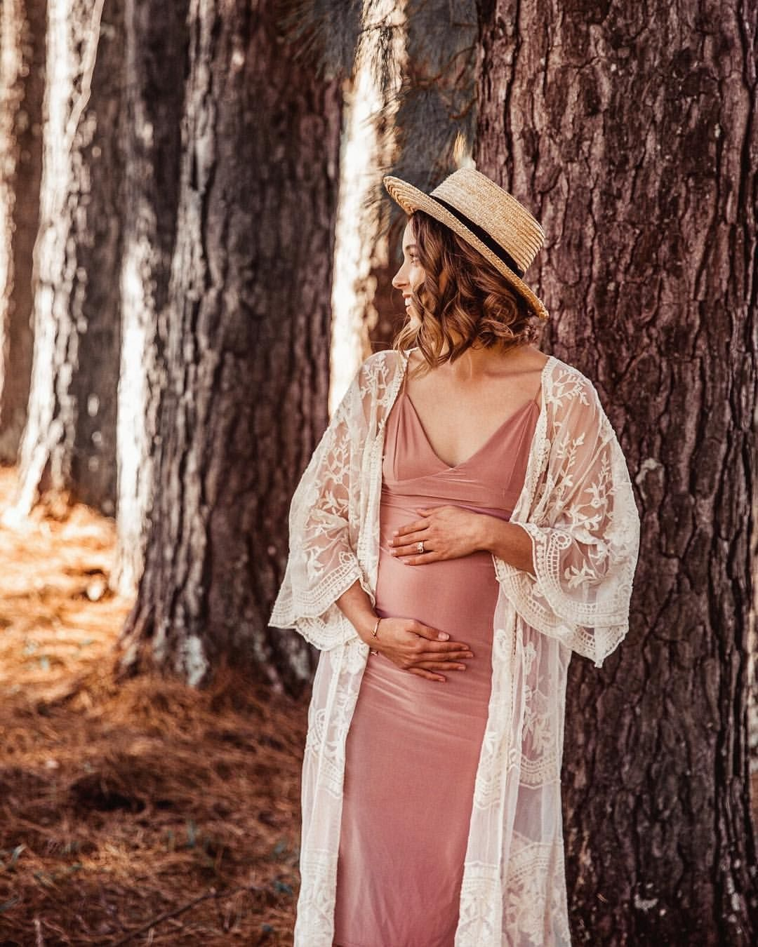 e3321630a07be Maternity pregnancy boho photoshoot pregnant bohemian baby shower  photography lace kimono dress cover up crochet - COVEN and Co