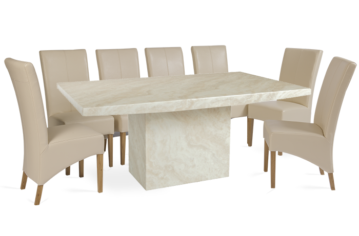 The Crema Extra Large Marble Dining Table with 10 Cream Leather ...