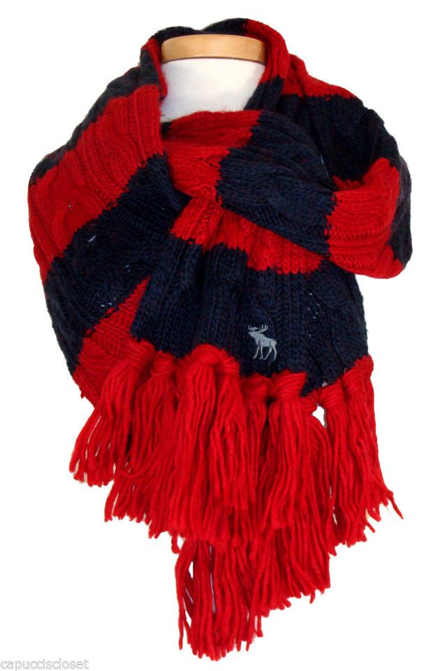 Abercrombie & Fitch Womens Scarf Muffler Cable Knit Wool Stripe Red Navy NEW $68
