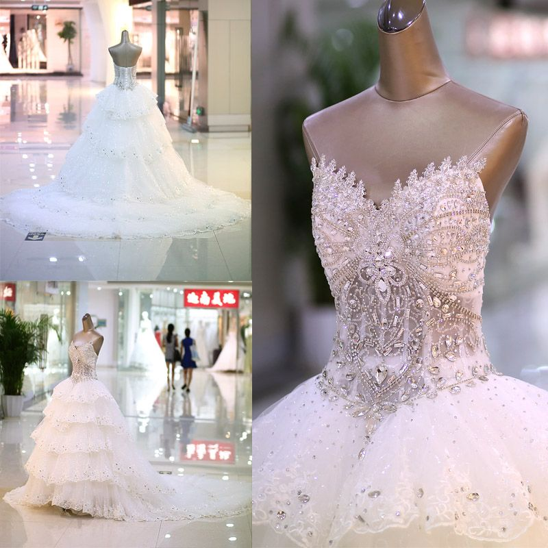 Quality sparkling crystal luxury diamond decoration tube top bandage train bride wedding dresses LU007 vestido de casamento