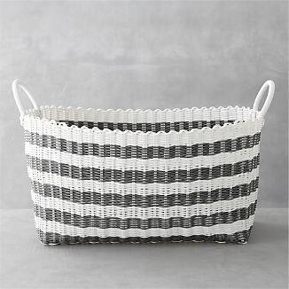 Grey White Stripe Laundry Hamper I Crate And Barrel Laundry