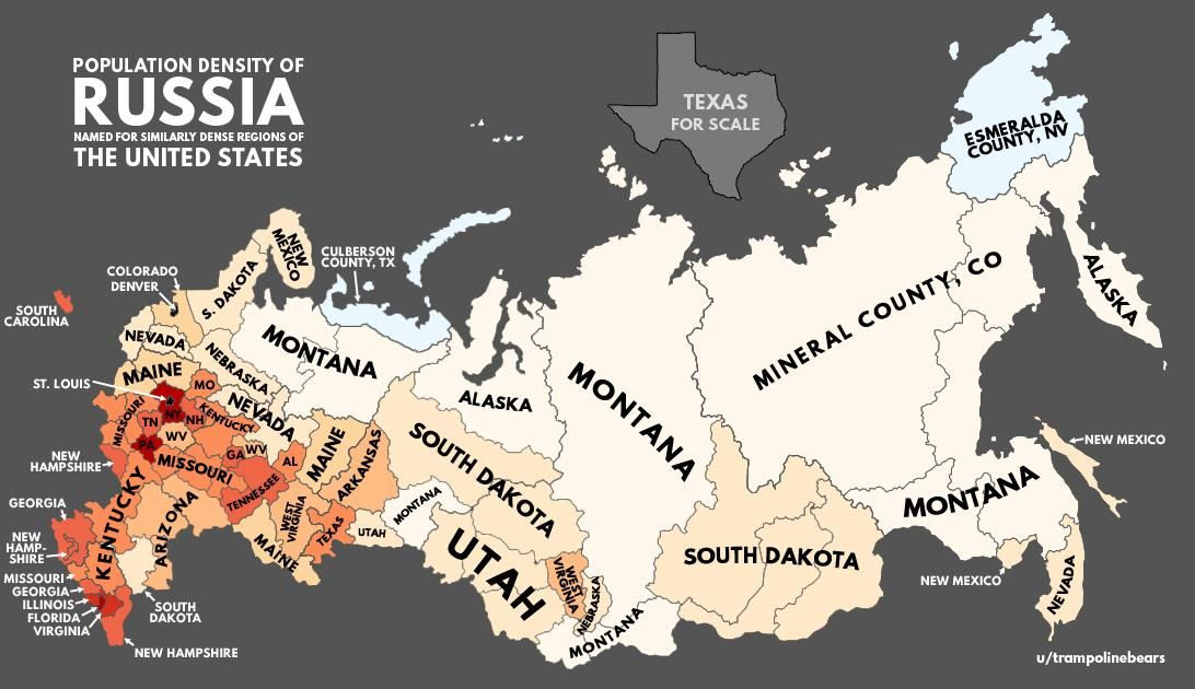 Population Density Of Russia With U S Equivalents Geo Pinterest