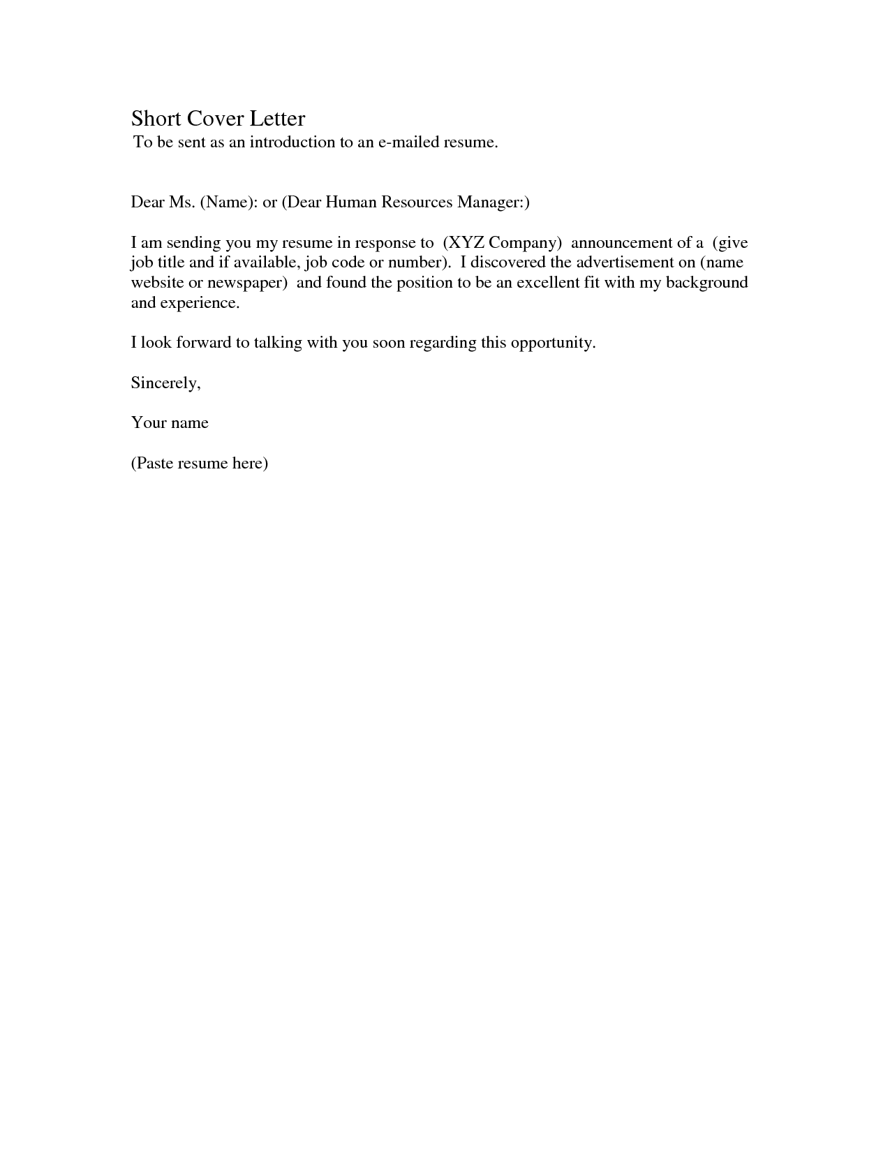 simple email cover letter sample