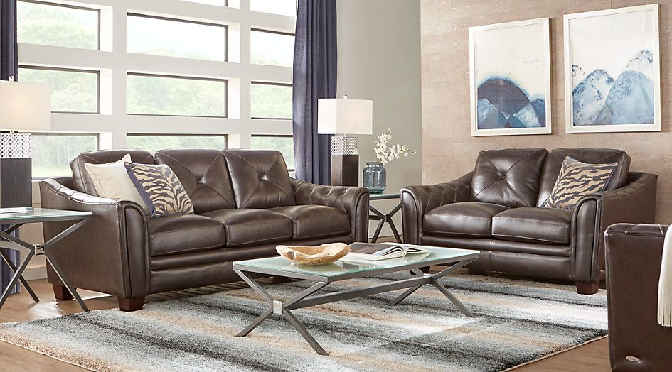 Cindy Crawford Home Marcella Coffee Leather 3 Pc Living Room Home