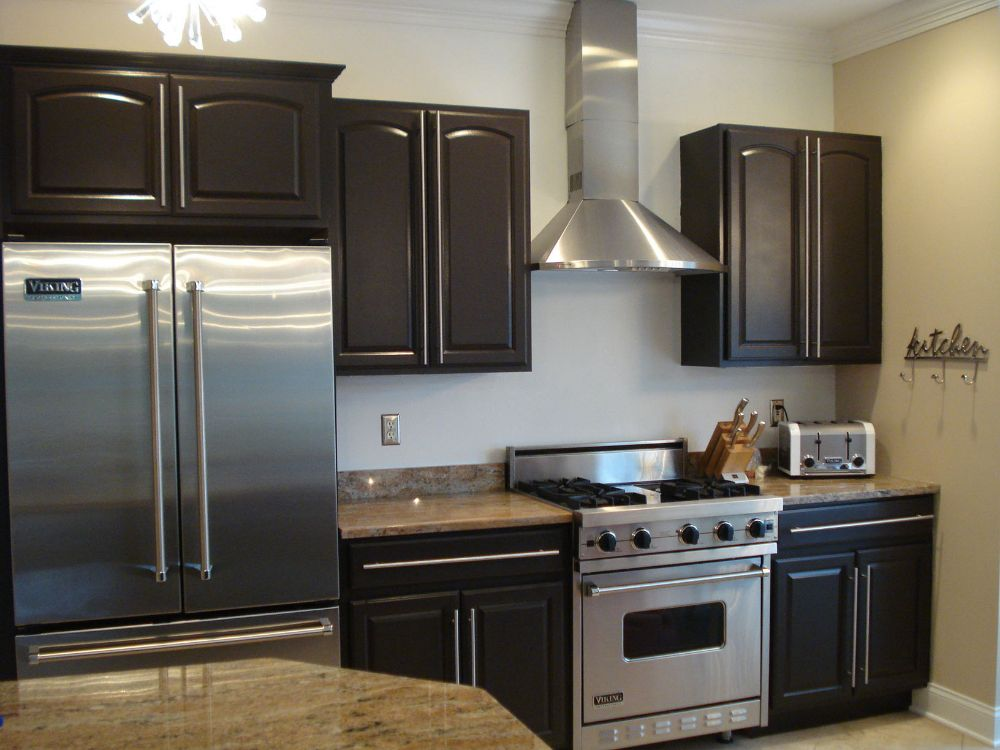 Maple cabinets transformed into rich Espresso color with ...