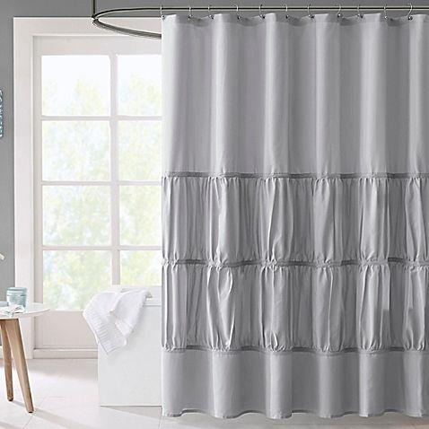 Mi Zone Mirimar Microfiber Shower Curtain In Grey White Shower Curtain