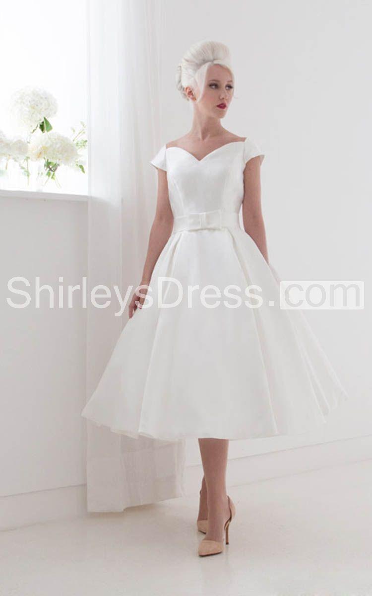 Off the shoulder tea length wedding dress  Elegant OfftheShoulder Aline Tea Length Dress With Vback Item