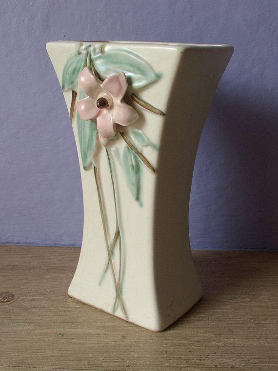 Antique Vase 1940s Mccoy Pottery Dogwood Blossom By