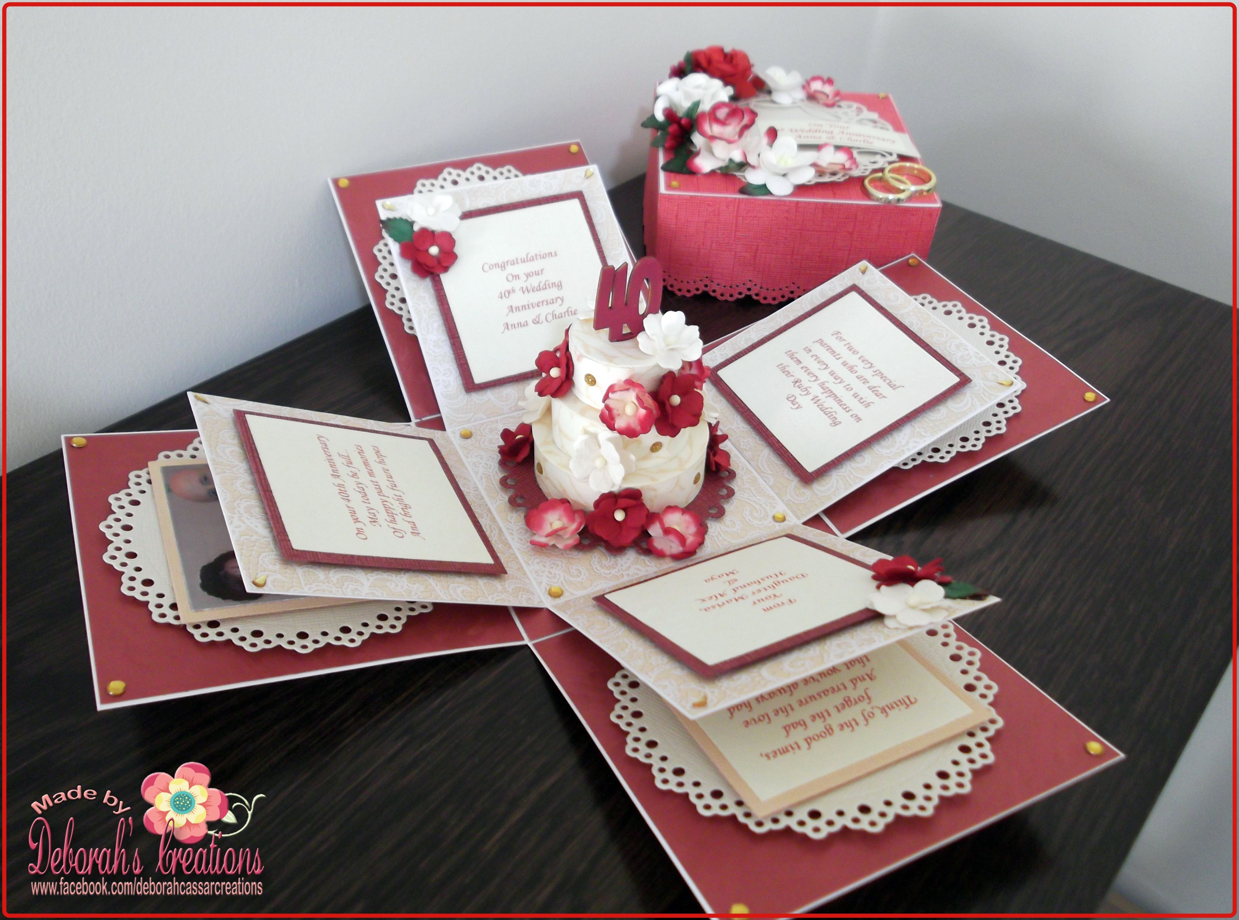 40th Wedding Anniversary Exploding Box Card Exploding Box Card Pop Up Card Templates Pop Up Box Cards